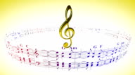 Violin clef rotating with music sheets, loop video