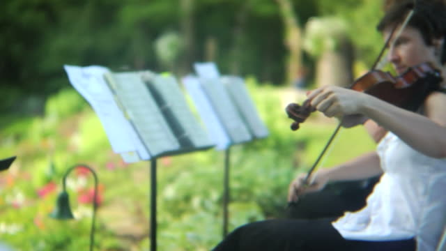 HD: Violinists perform outdoors video