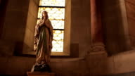 Virgin Mary statue and stained glass window, Cathedral La Major, Marseille, France video