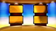 Virtual HD TV Studio Set with bank of 4 monitors video