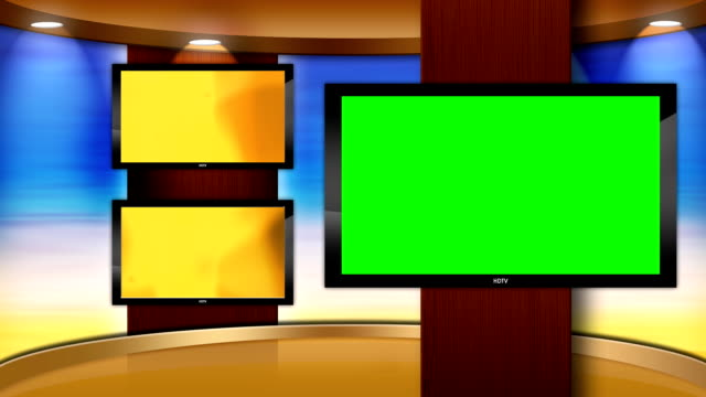 Virtual HD TV Studio Set with main monitor video