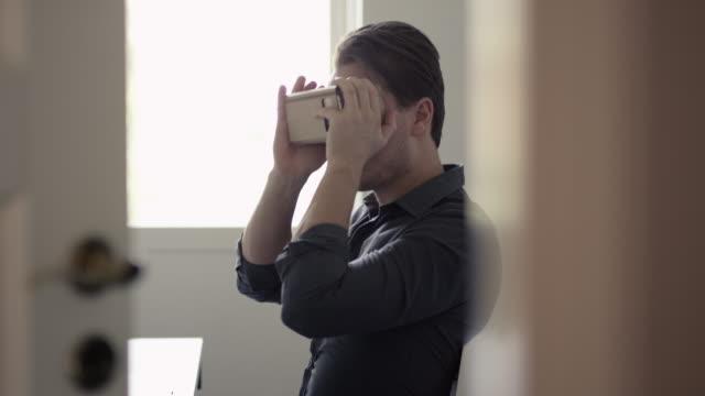 Virtual Reality Headset in Cardboard video
