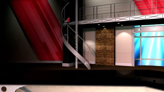 Virtual Set 12 - Left Anchor Newsroom Studio Background Shot video