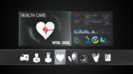 Vital sign icon for Health Care contents.Digital display application. video