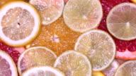 Vitamin citrus fruits lemon, orange, lime, pomelo, grapefruit rotating video