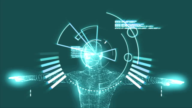 Vitruvian man graphic with interface animation video