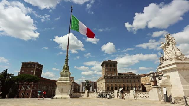 Vittorio Emanuele Monument in Rome and Italian Flag video