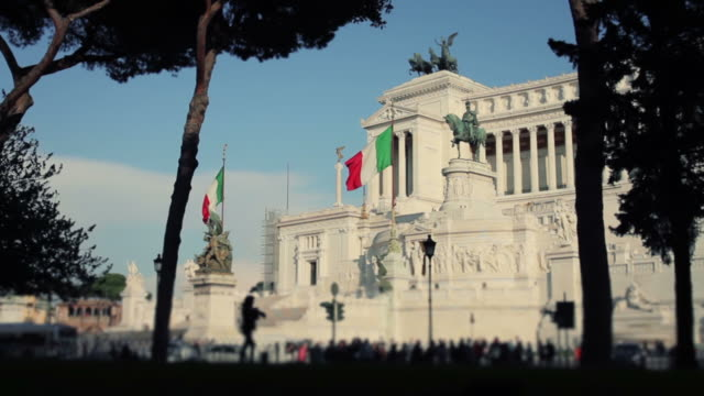 Vittorio Emanuele Monument in Rome with Tourists and Traffic video