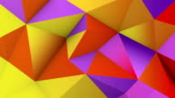 Vivid color low poly surface. Abstract 3D render loop video