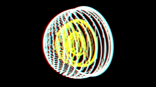 vj, circle on a black background. 3d, stereoscopic, anaglyph, video