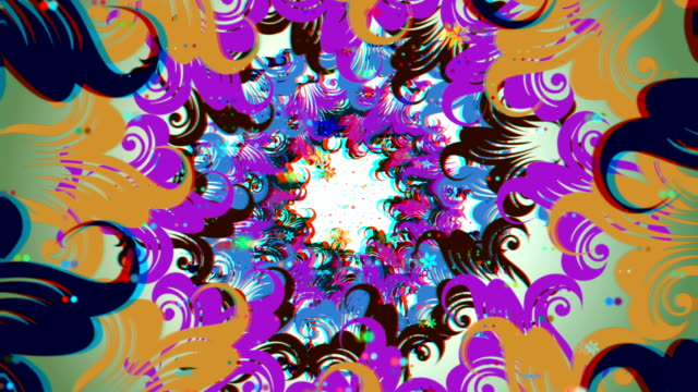 vj, varicoloured flowers of abstraction. 3d, stereoscopic, anaglyph video