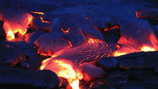 Volcanic lava Flowing at night video