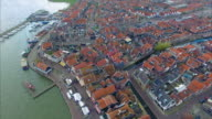 Volendam town in North Holland, Aerial View Of Water & Buildings video