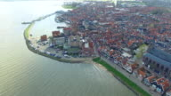 Volendam town in North Holland Ariel View Flying Towards Shore video