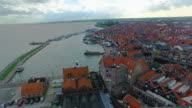 Volendam town in North Holland in the Netherlands Aerial View Of Water Homes video