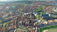 Volendam town in North Holland in the Netherlands Aerial View video