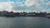 Volendam town in North Holland in the Netherlands Fly Backwards View video