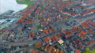 Volendam town in North Holland Overhead View Of Homes Going Toward Water video