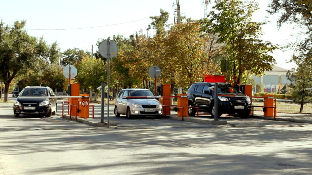 Volgograd, Russian Federation – September 27, 2015: Automatic security barrier at parking in International Airport Volgograd. video