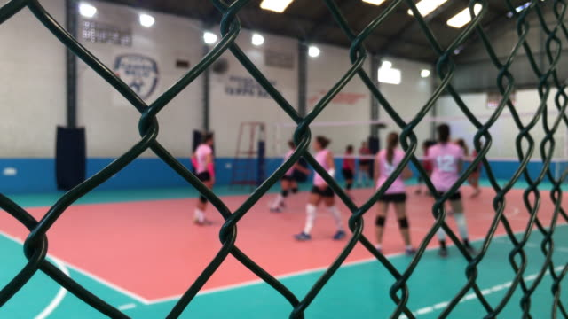 Volley ball game seen through fence video