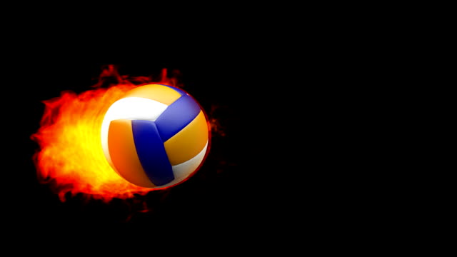 Volleyball fireball in flames on black background video