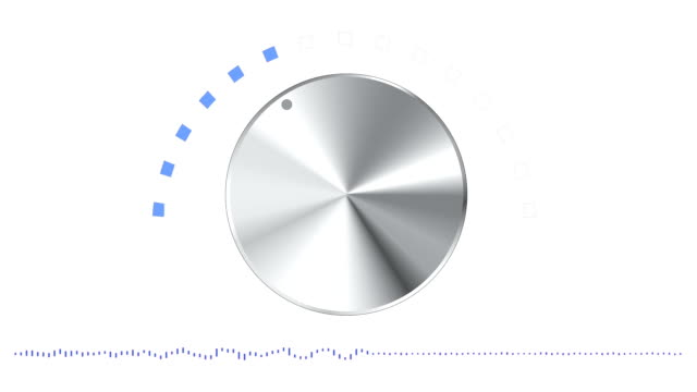 Volume Knob Moving with Sound Waves on White Background video