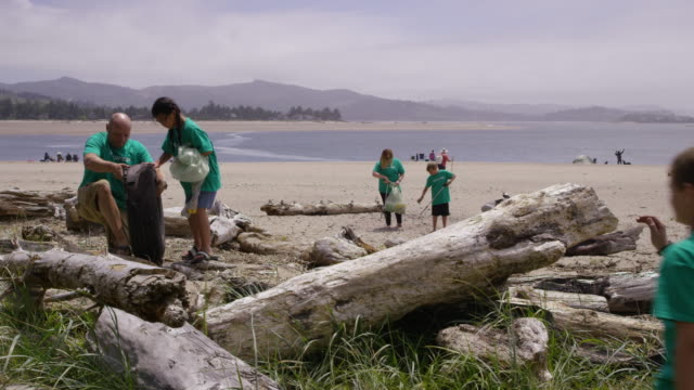 Volunteers cleaning up beach video