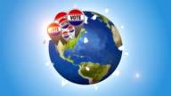 Vote Badges On Orbiting Globe video