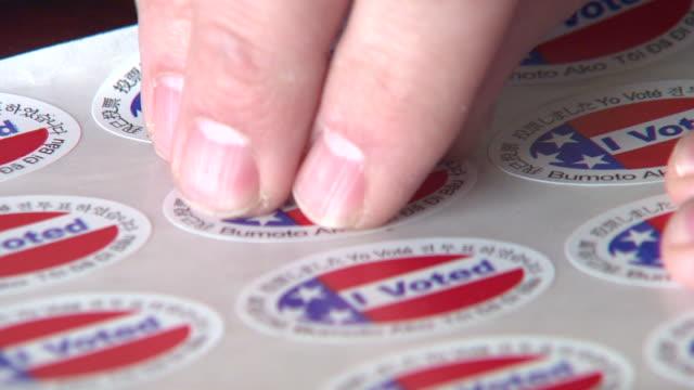 I Voted Peel Sticker video