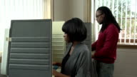 Voting, young female and male African American in booths video