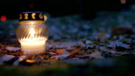 Votive candle on grave, Grave candle video