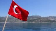 Voyage. Turkey Kemer. Turkish national flag video