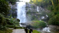 Wachirathan waterfall with spray of water Splashing to your face at view point, one of the famous waterfall at Doi Inthanon mountain National Park. Located in Chiang Mai, Thailand. video