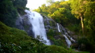 Wachirathan waterfall with spray of water Splashing to your face at view point, one of the famous waterfall at Doi Inthanon National Park mountain. Located in Chiang Mai, Thailand. video