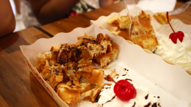 Waffles with cherry and whip cream video