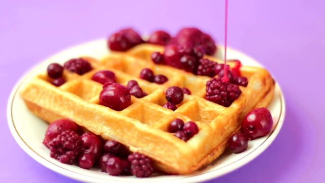 Waffles with red berries video