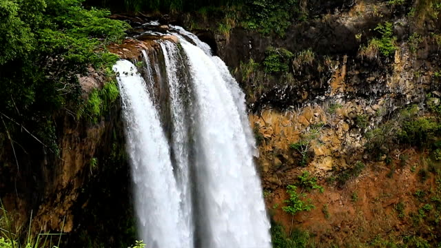 Wailua Falls Kauai medium shot slow motion video
