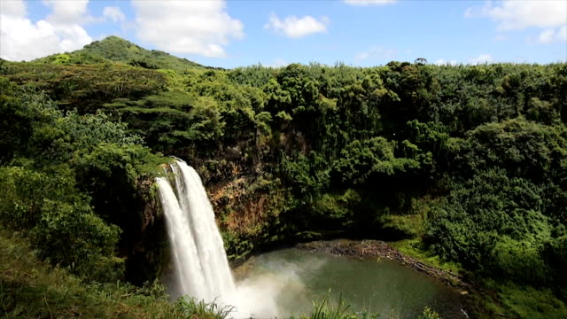 Wailua Falls Kauai Wide Angle View in Slow Motion video