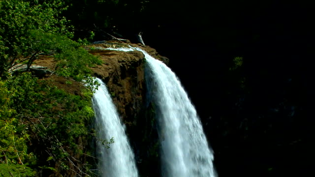 Wailua Falls waterfall in Kauai, Hawaii View 1 video