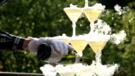 Waiter Pouring Champagne Into Glasses With Liquid Nitrogen video
