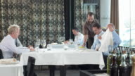 HD DOLLY: Waiter Serving Business Lunch video