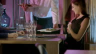 HD DOLLY: Waiter Serving Dinner To A Couple video