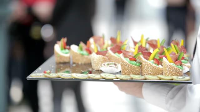 Waiter serving food video