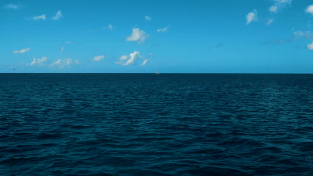 A Wake From a Ship at Sea with Blue Ocean Water, a Horizon, Blue Sky and Clouds video