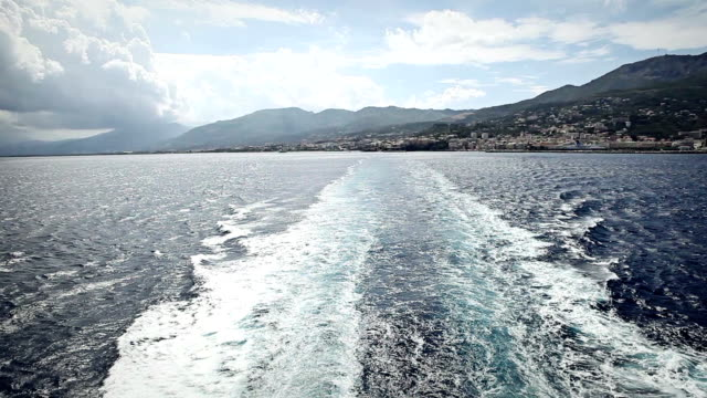 Wake of a ferry boat leaving Bastia harbor video