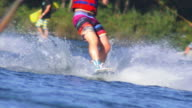 HD Wakeboarders on Lake Slow Motion video