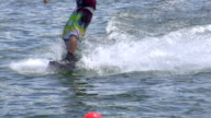SLOW MOTION: Wakeboarding close up video
