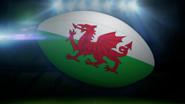Wales rugby ball in stadium with flashing lights video