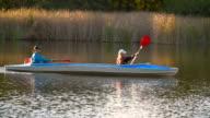 Walk along the river in a canoe video