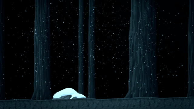 A Walk in a Frozen Snowy Forest with Trees Animated Cartoon video